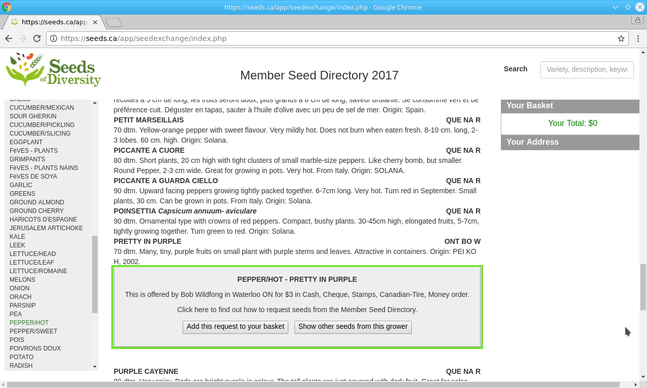 Seeds of Diversity - Member Seed Directory